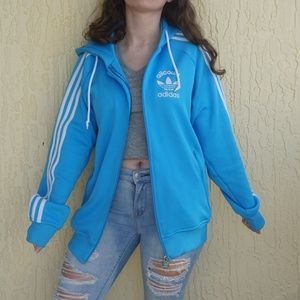 Baby blue Adidas zip up jacket